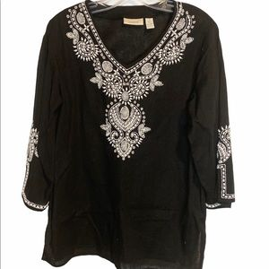 Chico's  linen/Cotton beaded Tunic 3/4 Sleeves